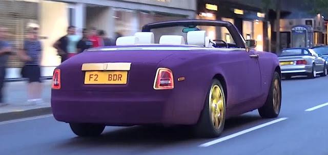ロールスロイス・ファントムの紫色ベルベット仕様がロンドンに出現!