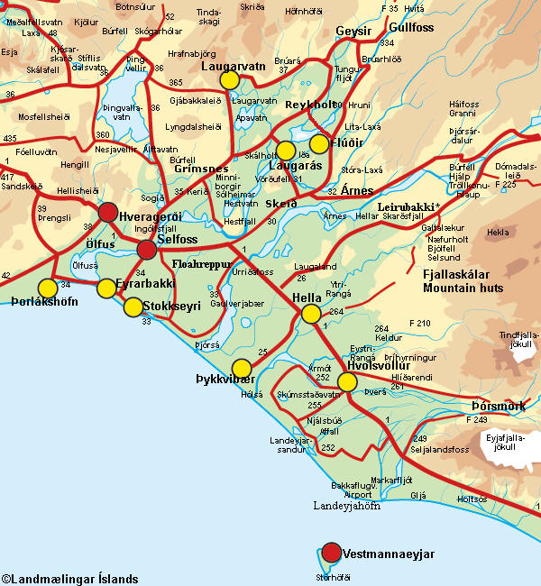 mapa de urridafoss, seljalandfoss, glufrafoss y skogafoss