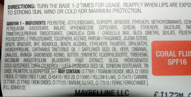 Ingredients of Maybelline Baby Lips Color Lip Balm with SPF 16