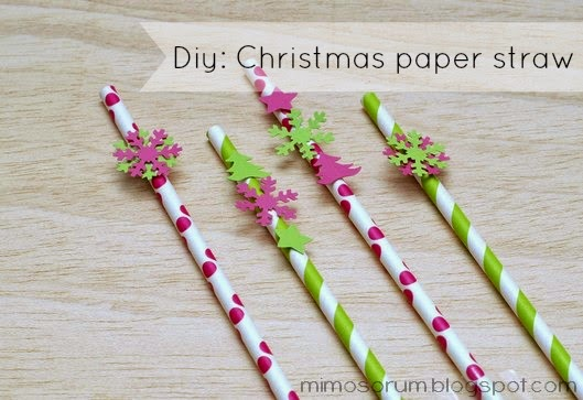 Pajitas de papel decoradas. Diy: Christmas paper straw