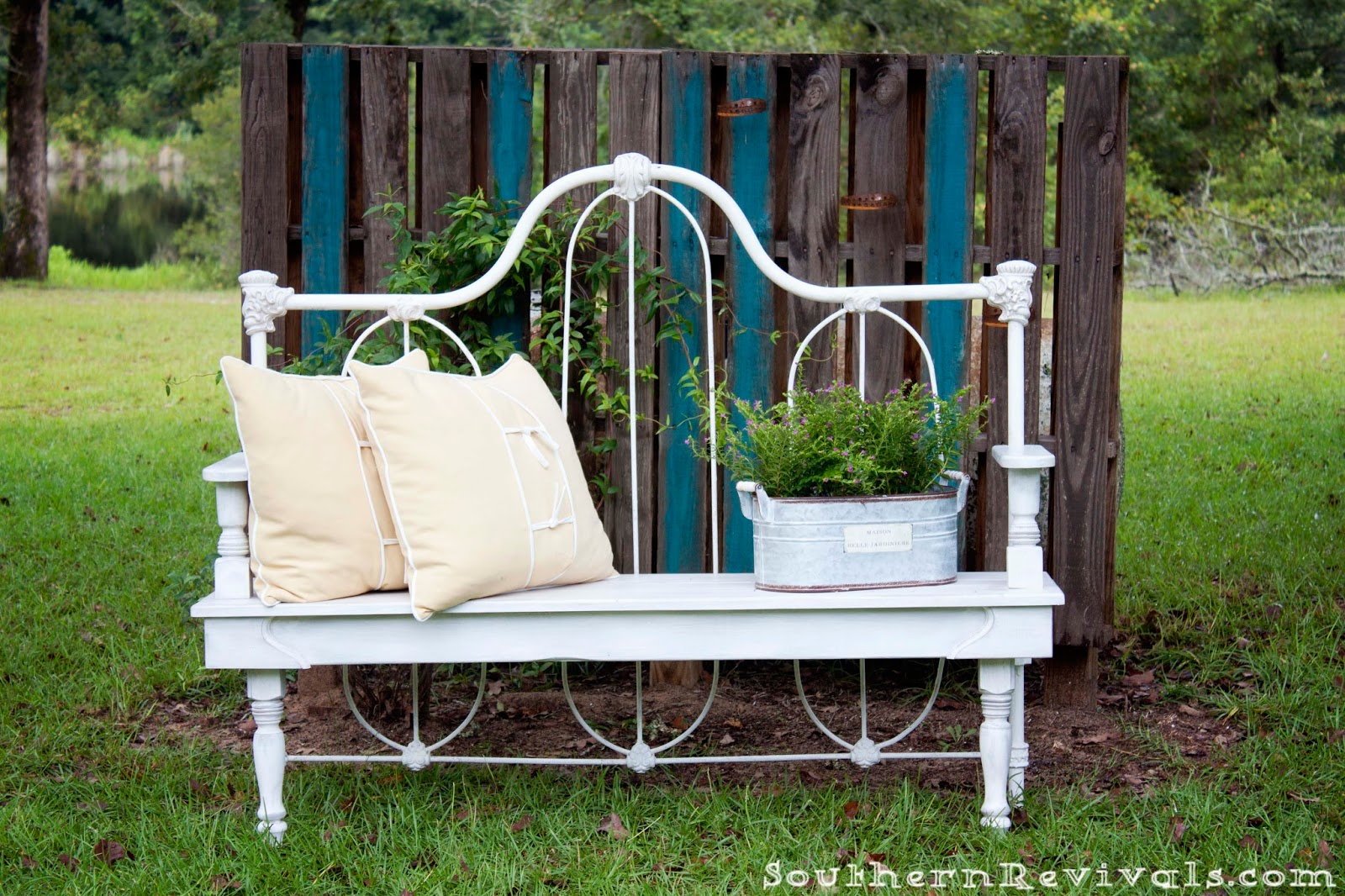 Diy repurposed metal headboard bench southern revivals for Repurposed metal furniture