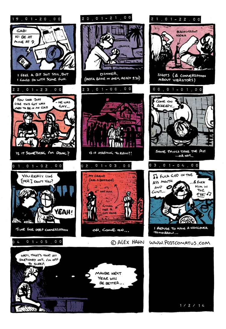 Comic strip by Alex Hahn for Hourly comic day each hour represented visually part two