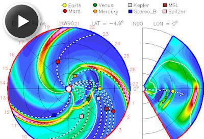 Trayectoria nube de plasma solar 19 de Abril de 2012