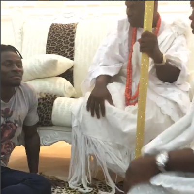 Obafemi Martins  Pays Newly Crowned Ooni Of Ife A Visit (Photos)