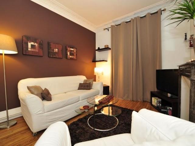 Sala Pequena Com Sofa Bege ~ Salas pequeñas de color marrón y beige  Salas con estilo