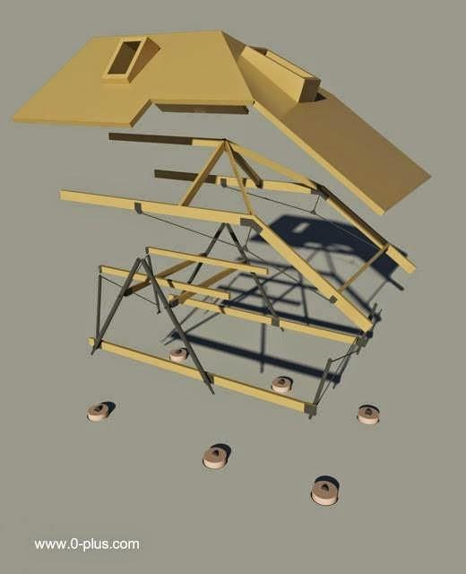 Estructura y fundaciones de la cabaña de vidrio y madera