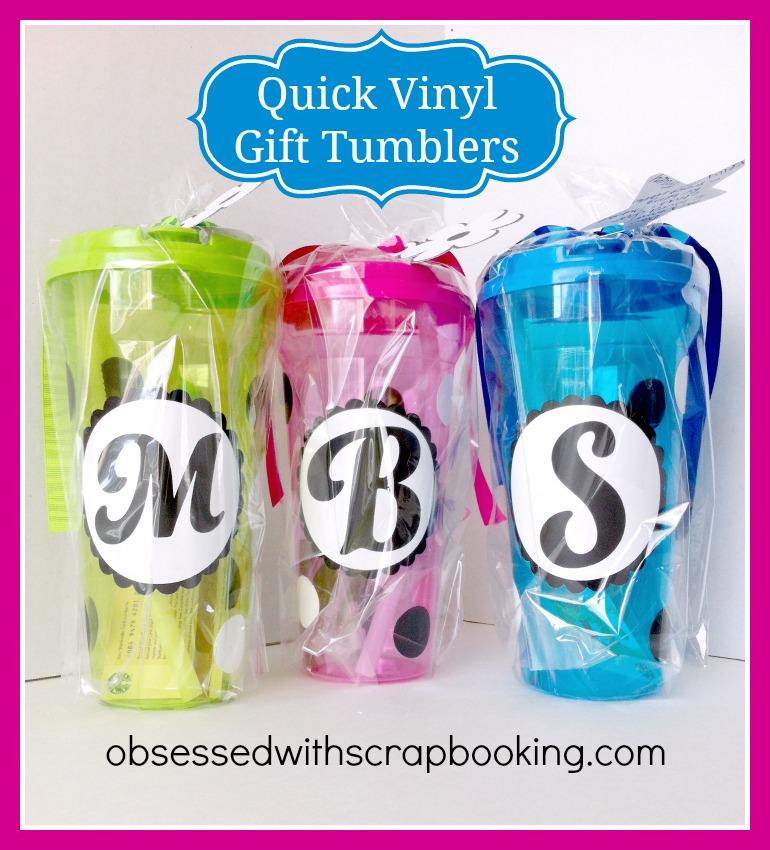 videovinyl monogram tumbler with ctmh artbooking cricut cartridge