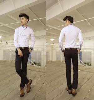 Kemeja Putih Tangan Panjang Pria Model Korea Terbaru Februari 2016 Murah
