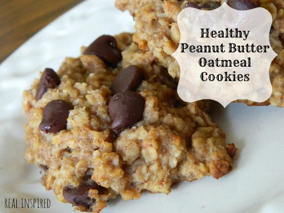 Real Inspired: Healthy Peanut Butter Oatmeal Cookies