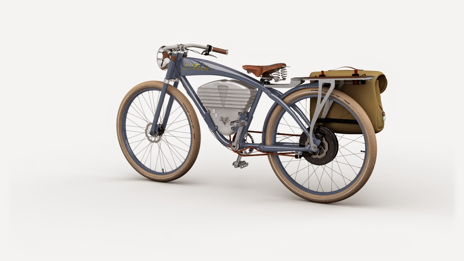artwork of austin bath vintage electric bike blue