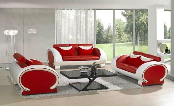 Diseño de sala moderna en rojo y blanco, donde vemos una hermosa