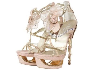nude heels, luxury shoes, luxury platforms, bling, floral shoes