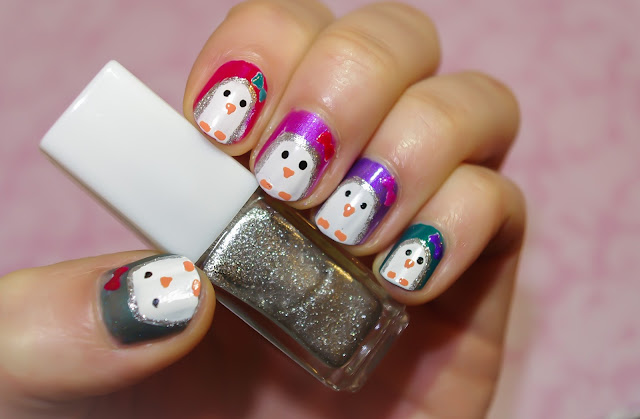 Colorful penguin nails image