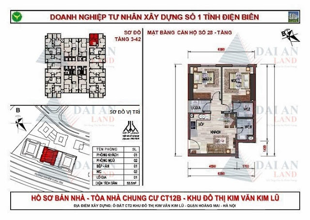 Căn 28 - Tòa CT12B Chung Cư Kim Văn Kim Lũ