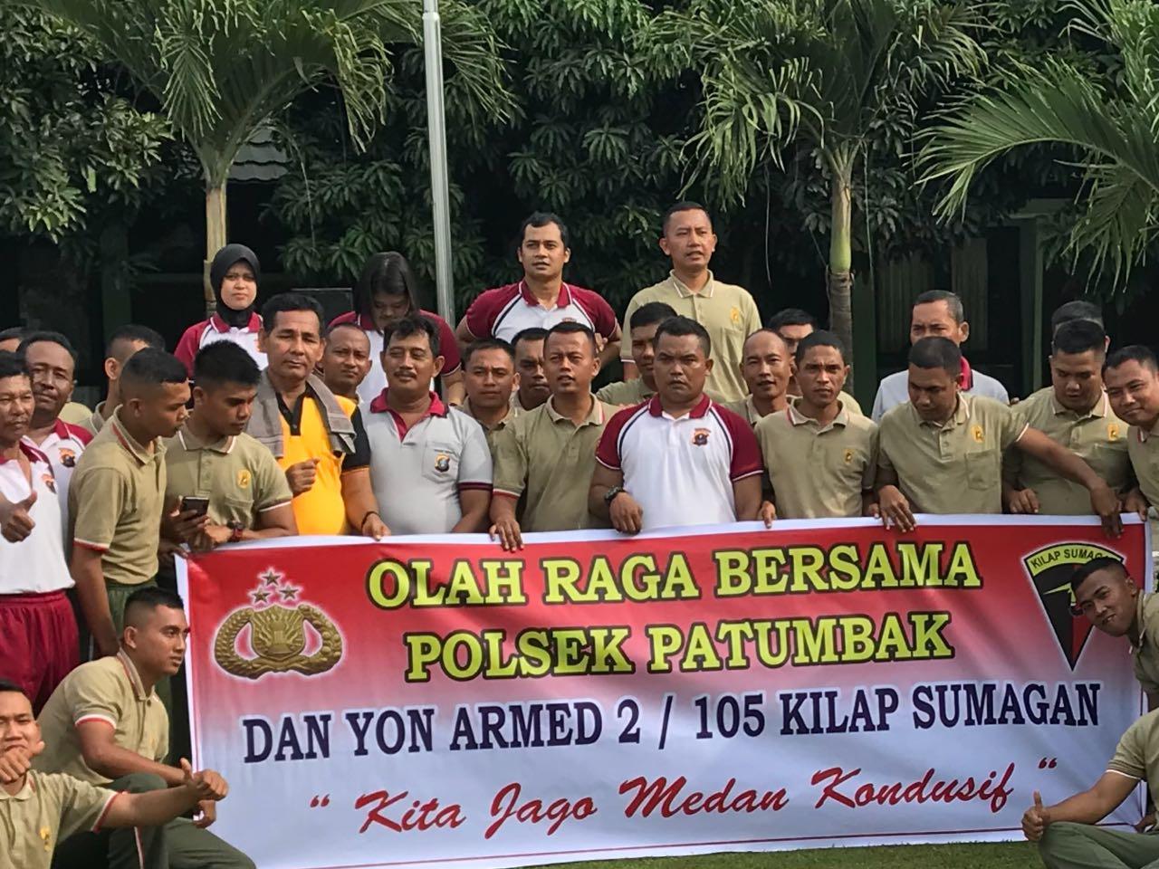 Jaga Keharmonisan, Polsek Patumbak dan Yon Armed 2/105 Batre B Amplas Olahraga Bersama