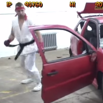 Real Life Street Fighter Destroying a Car with Bare Hands