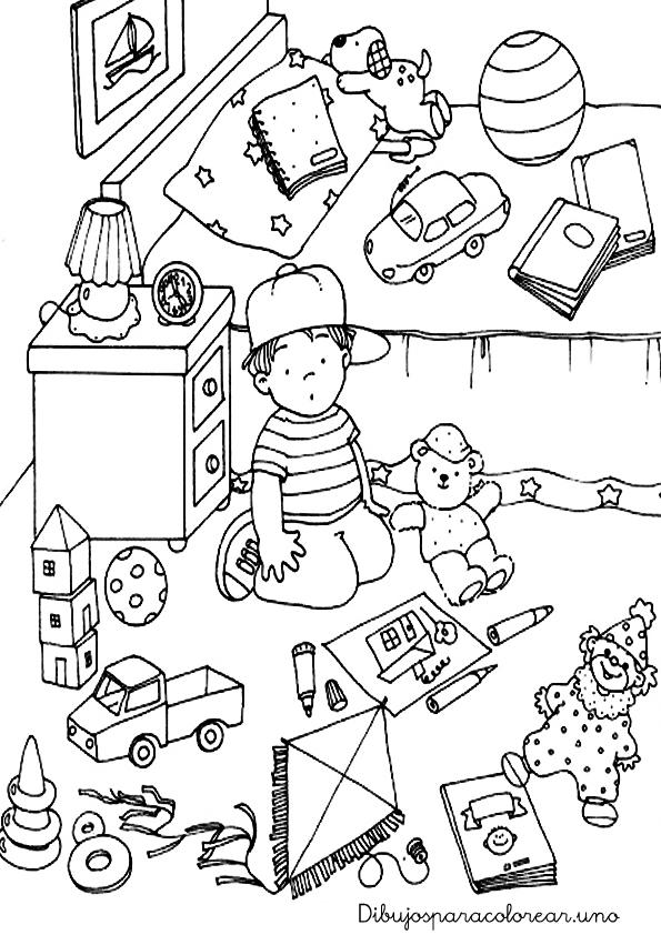 Dibujos para colorear de ni os jugando en su cuarto imagui for Cuarto para colorear