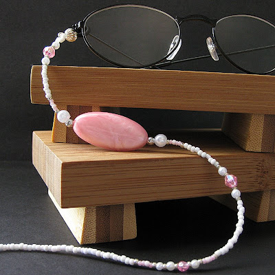 Candy Pink and White Pearl Eyeglasses Chain