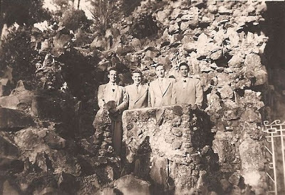 Fred Slade and friends at Ave Maria Grotto, Cullman, Alabama 1948 or 1949