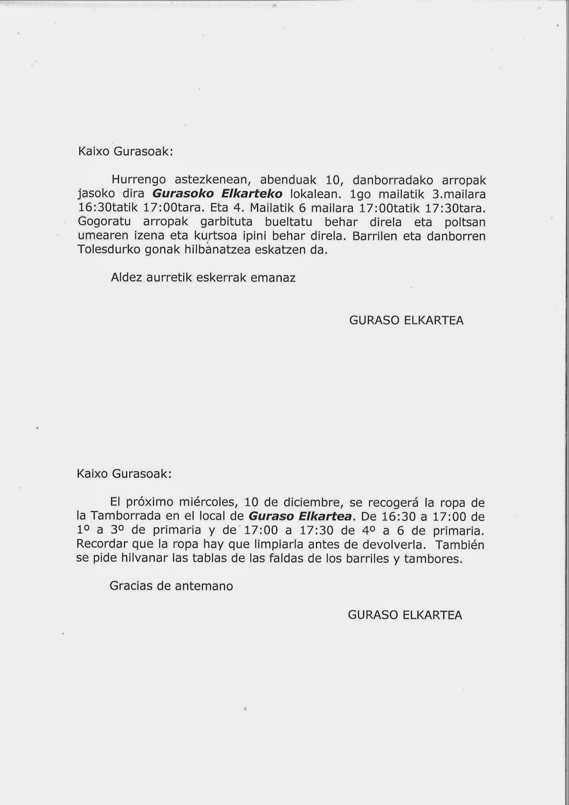 DANBORRADAKO ARROPAK BUELTATZEKO EGUNA / DIA PARA DEVOLVER LAS ROPAS DE LA TAMBORRADA