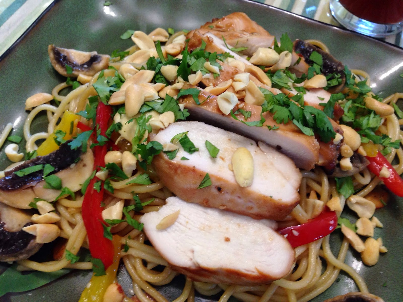 ... & Spicy Noodles with Grilled Chicken and Strawberry Poppyseed Salad