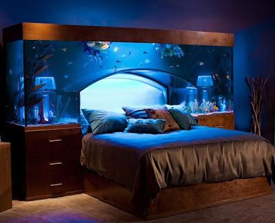 Akvaryumlu Yatak Baza Başlık Modeli