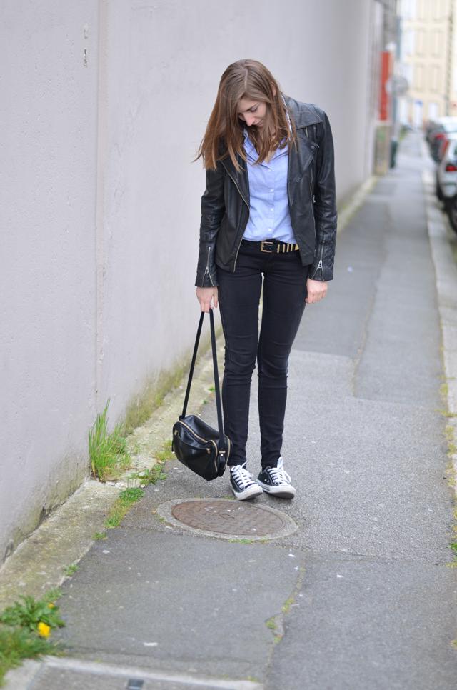 Ohcommentçava - Perfecto cuir et chemise bleue