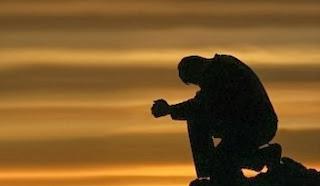 man, sitting, sunset, rock, praying, photo
