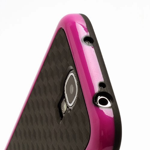 Cool 3D Cube Texture TPU Case for Samsung Galaxy S 4 IV i9500 i9505 - Black / Magenta