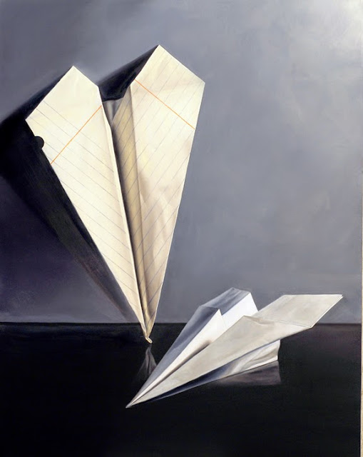 jeanne vadeboncoeur paper airplane oil painting, still life realism