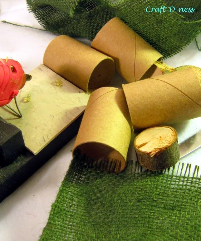 Cardboard tubes, burlap strips and hot glue