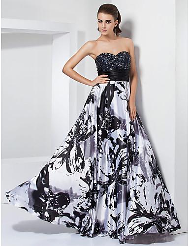 Vestido Blanco y Negro con Mariposas
