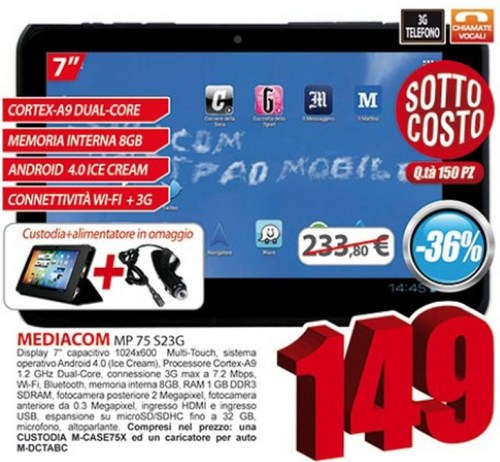 Eldo nell'ultimo volantino di maggio presenta un tablet mediacom SmartPad 750 S2 3G in sottocosto