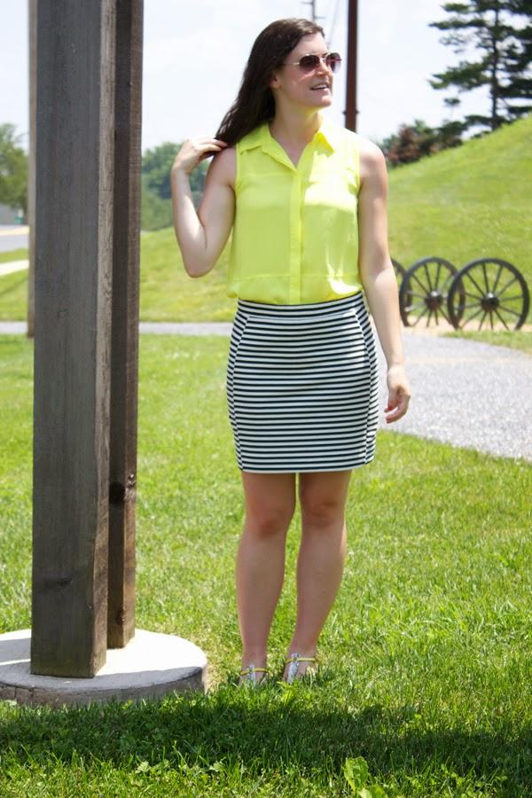 Stripes, neon, madewell skirt, target top, neon yellow