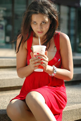 Gorgeous Nisha kothari hot photos in red short dress
