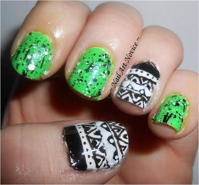 Tribal Nail Art with Barry M Nail Art Pens and Barry M Superdrug Limited Edition Neon Green, plus Seventeen Graffiti Effects in Monochrome