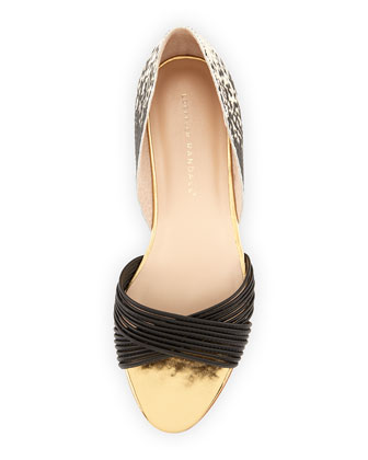 Loeffler Randall open toe flats with criscross straps
