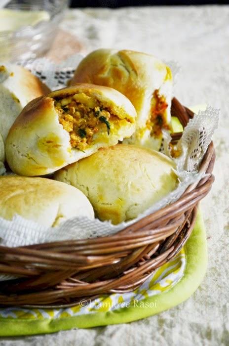 stuffed buns | keema buns