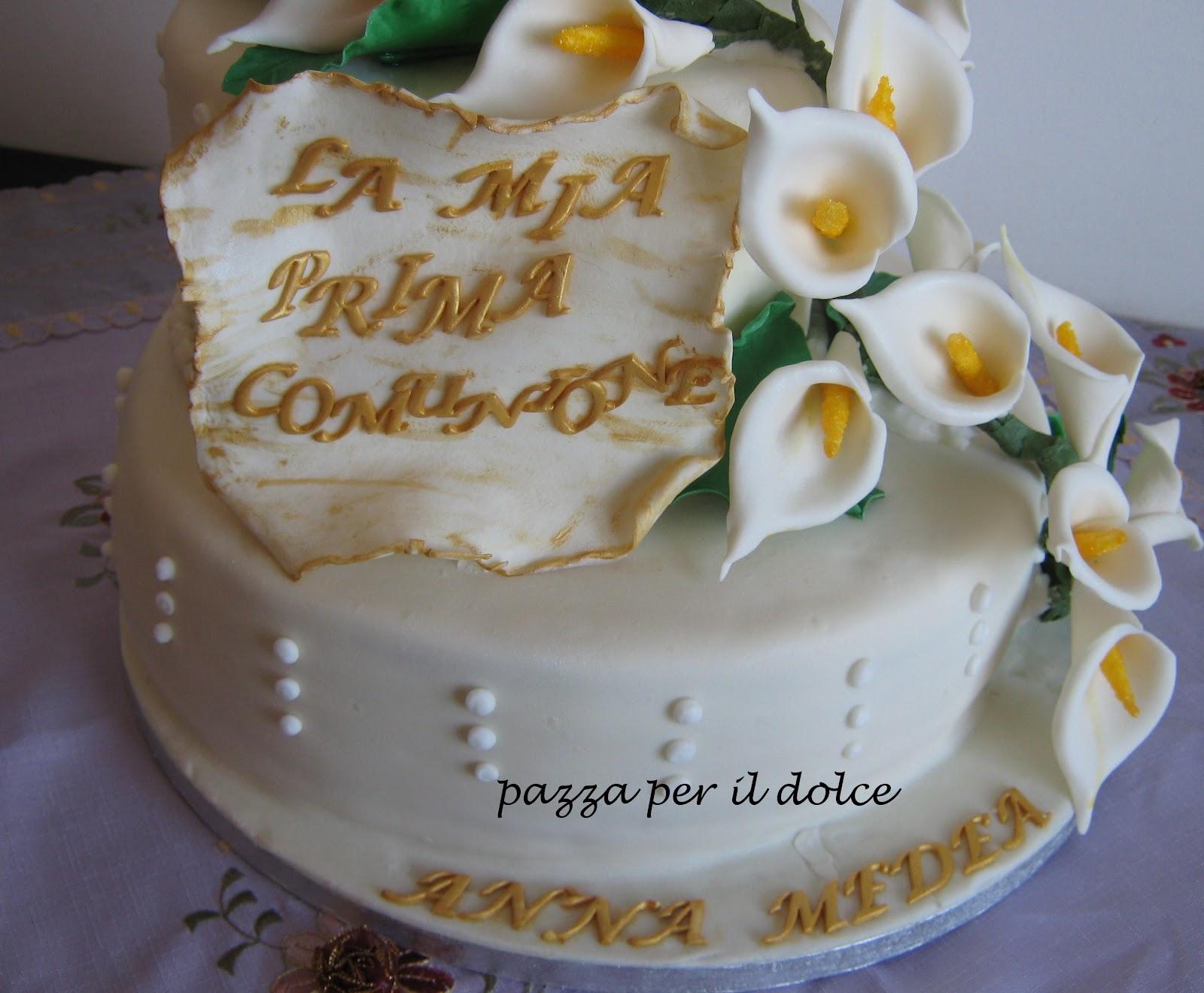 Pazza per il dolce torta a due piani per una prima comunione for Piani di coperta a 2 piani
