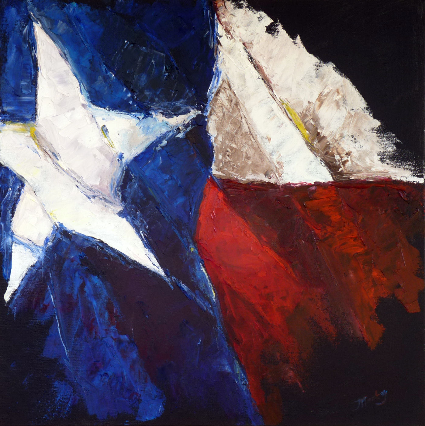 palette knife painters state of texas flag painting by