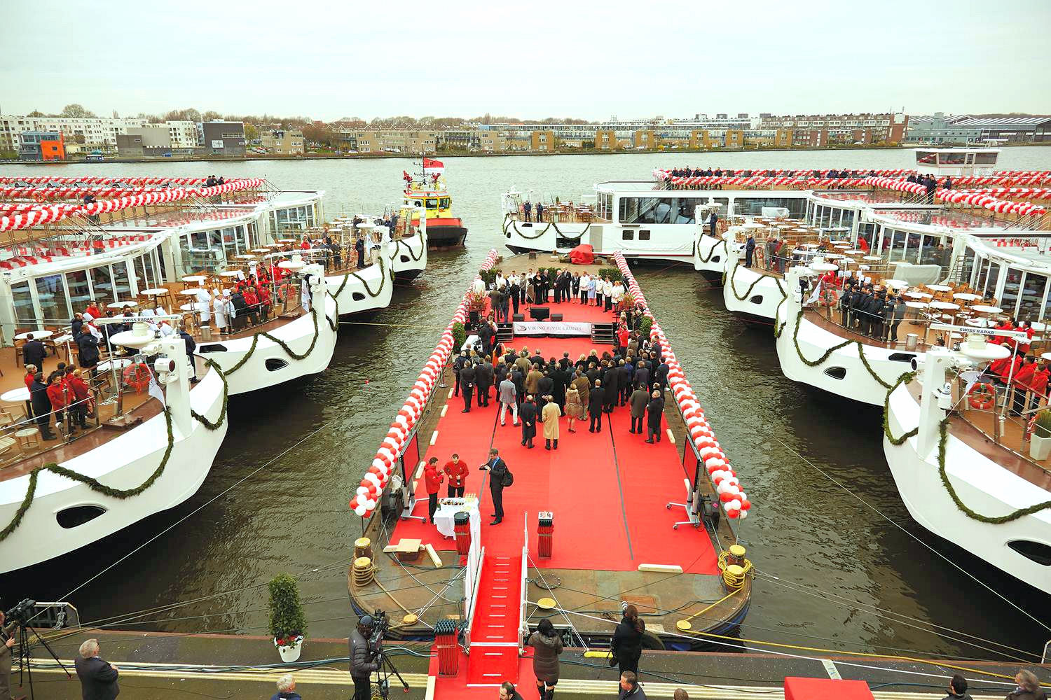 Nine Viking Longships were christened in Amsterdam on March 17. Photo: Courtesy of Viking Cruises. Unauthorized use is prohibited.