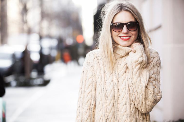 Fashion Over Reason, chunky knit, Ralph Lauren, MAC Cosmetics matte lipstick in Lady Danger, SOLO Eyewear  tortoiseshell