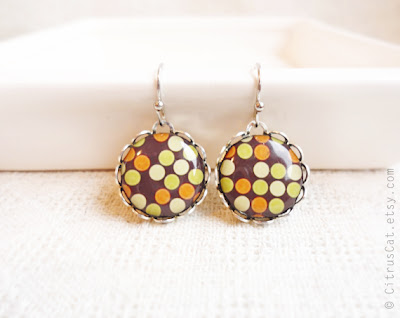 Brown, orange, lime green, jewelry, earrings, small earrings, dangle earrings