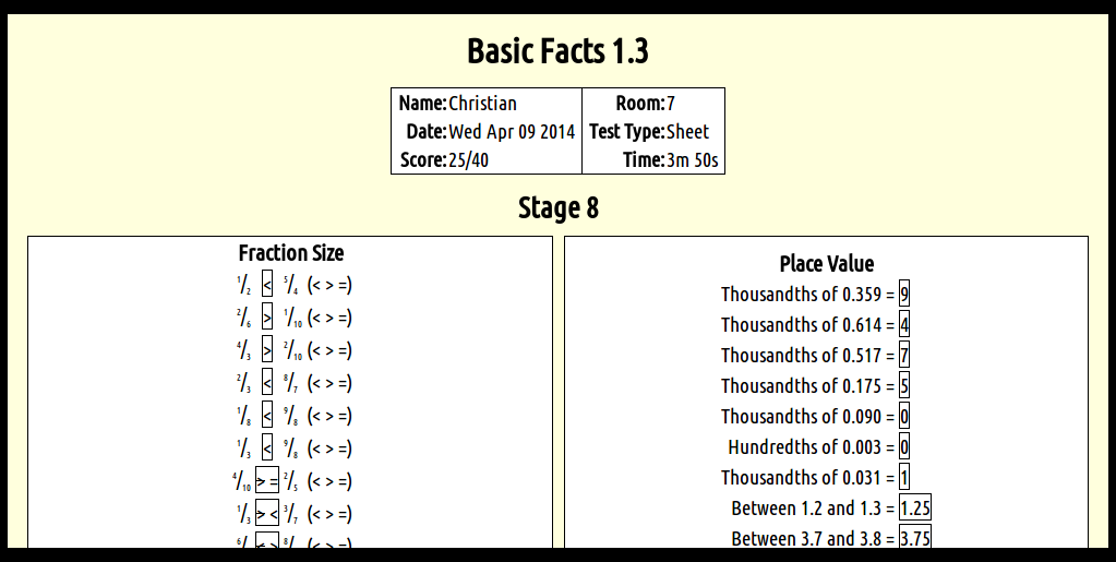 Christian @ St Pius X School: 9/4/14 - Stage 8 Basic facts test.