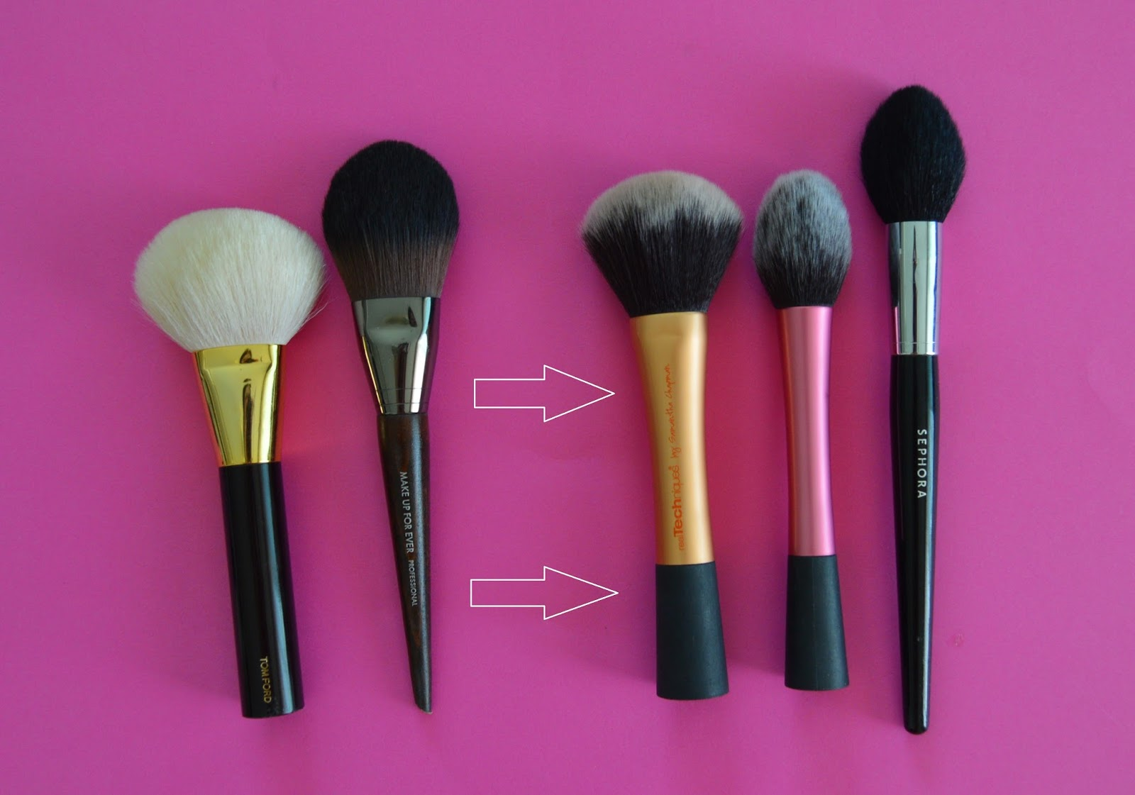 bobbi brown blush brush dupe. great dupes for my bronzer and powder brush are real techniques big brush, blush sephora #59, they all to use both. bobbi brown dupe