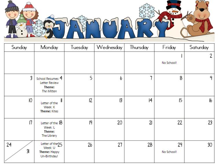 Calendar 2016 Winter