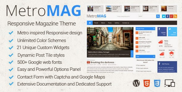 Metro Magazine v2.7 - Responsive WordPress Theme Free