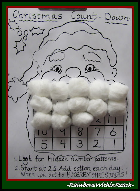"Santa Beard Calendar via RainbowsWithinReach @ ""PreK+K Sharing"""