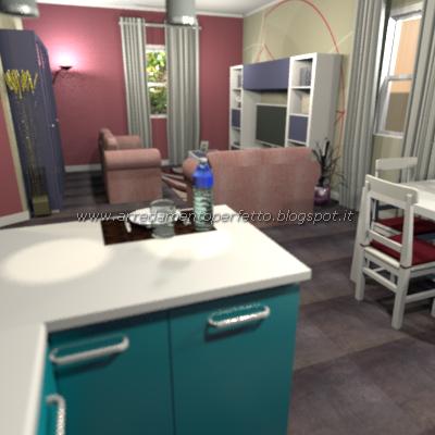 Vista prospettica del soggiorno in stile moderno di colore blu