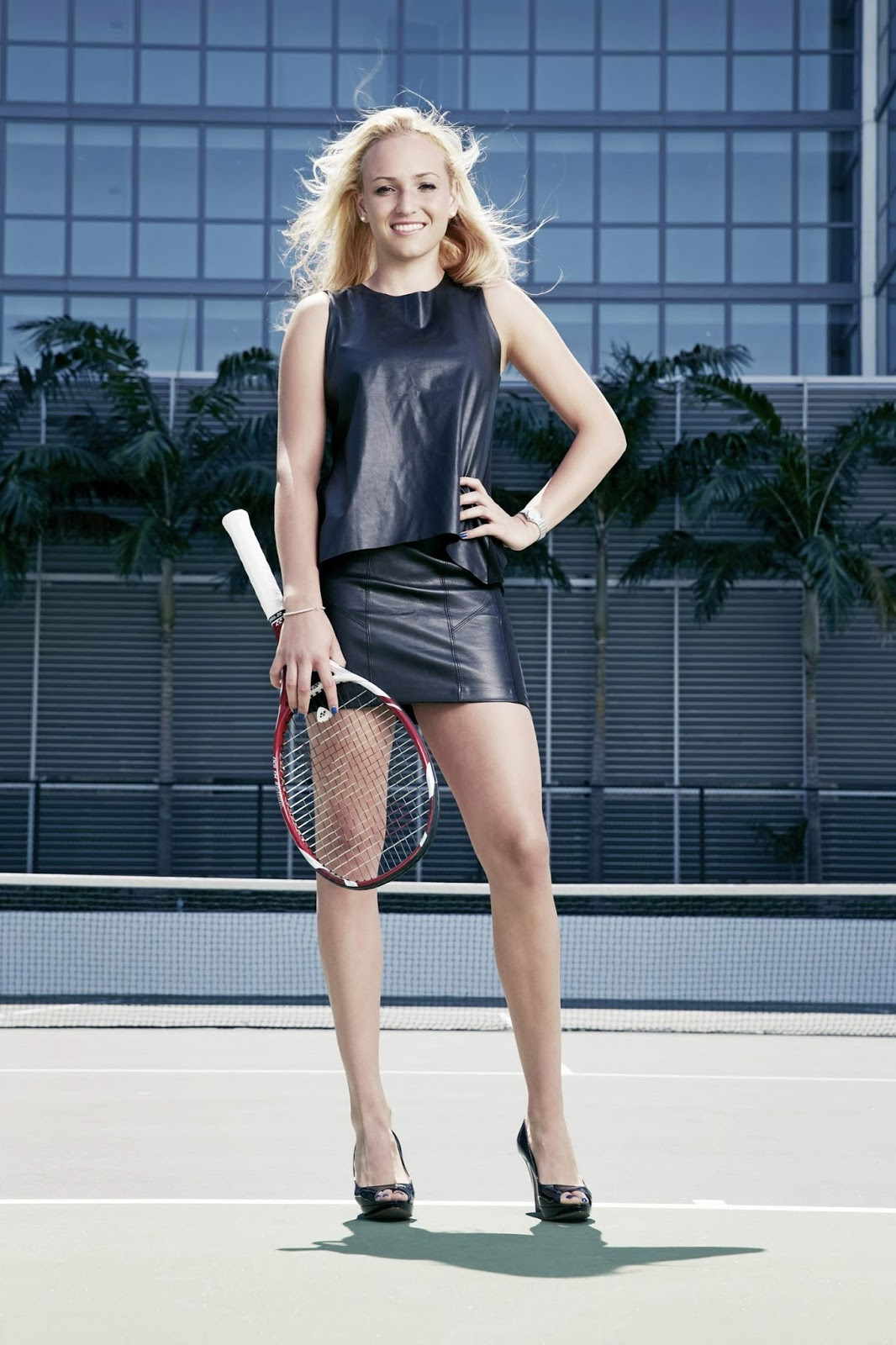 lovely in leather donna vekic in a leather mini